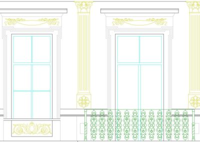 Čelní fasáda detail